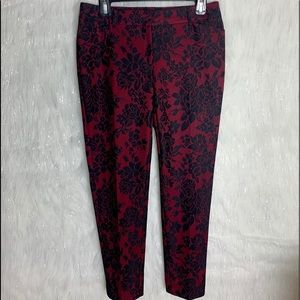 WHBM slim ankle pants sz 4 wine and black lace
